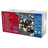 Konstsmide 3691-107 LED Globelichterkette mit runden Dioden / für Außen (IP44) /  24V Außentrafo / 80 warm weißen Dioden / schwarzes Kabel