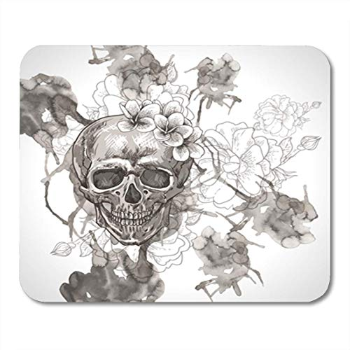 Gaming Mauspad Colorful Tattoo Abstract Skull Wings and Flowers Rose Sugar Rock 11.8