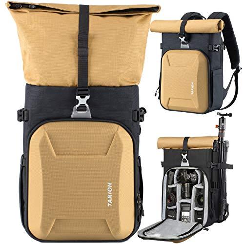 TARION Kamerarucksack Wasserdicht Fotoruckack Kameratasche Unisex mit 15,6 Zoll Laptopfach & Regenschutzhülle DSLR Rucksack für Sony Canon Nikon Gold