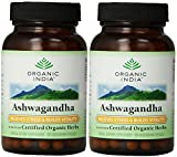 Organic India Complément alimentaire Ashwagandha - A base de plantes certifiées bio - Soulage le stress et revitalise - 90 capsules végétariennes