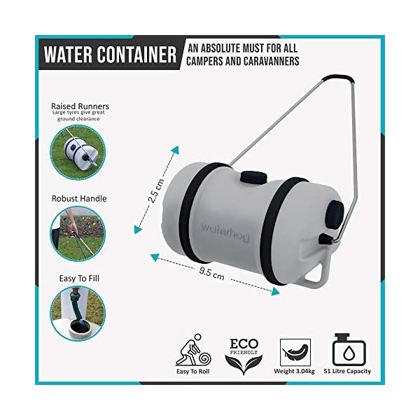Leisurewize LWACC48 Waterhog Water Carrier 51.5 L with Pull Handle, Grey