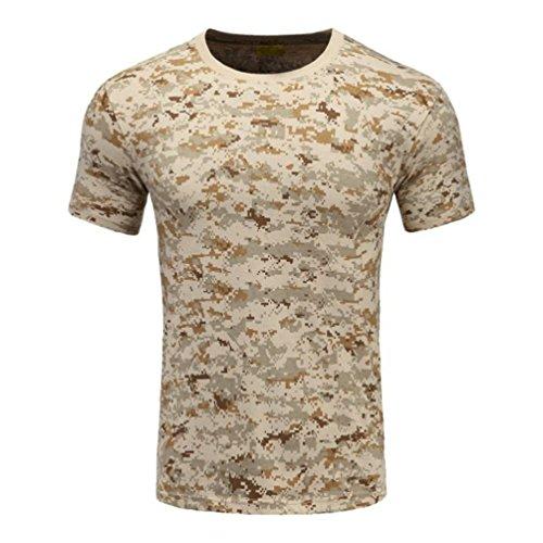 YuanDian Homme Tactique Camo Militaire T-Shirt Manches Courtes Séchage Rapide Impression Été Décontractée De Plein Air Respirant Armée Chemises Haut De Camouflage
