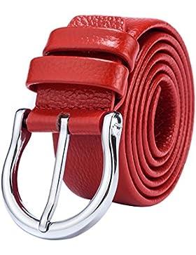 Señoras Jeans Cinturón,Simple Pin Hebillas Elegante Cinturón Cuero Genuino Cinturón