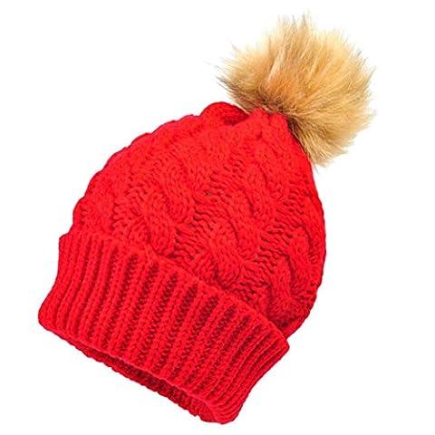 nouveau-né Chapeau Unisexe mignon bébé d'hiver enfants bébé Chapeaux en laine Hemming Chapeau pour bébé fille garçon Red 2 Nouveau-né