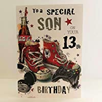 Jonny Javelin Special Son On Your Age 13 th Birthday Card - Gaming Baseball Boots