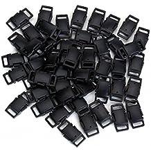 Pack de hebillas de plástico (9,5 mm, 50 unidades), color negro