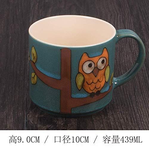 tuyuzhen Mark Tasse Keramik Tasse Paar Tasse Tasse Büro Wasserbecher Eule E Blau (Eule Blaue Kaffee Tasse)