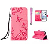 MUTOUREN iPhone 5/5S/SE Wallet Case with Bling Diamond Flower Butterfly Garden Pattern Premium PU Leather Cover Bookstyle Soft TPU Magnetic Snap Anti-scratch Shockproof Bumper Shell Pink
