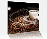 Acrylglasbild 50x50cm Kaffee Tasse Coffee Bohnen Küche Glasbild Bilder Acrylglas Acrylglasbilder Wandbild 14C215, Acrylglas Größe3:50cmx50cm