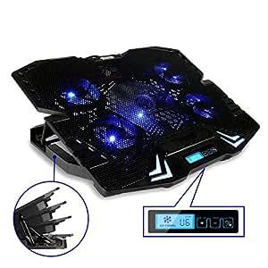 MECO Basi di Raffreddamento Pieghevole Per Notebook Gaming PC Pad Computer Supporto con Sistema di Raffreddamento 5 Ventola Silenziosa 15.6 Pollici Supporto Regolabile Appoggio con 5 Diverse Altezza Inclinazioni LED Blu