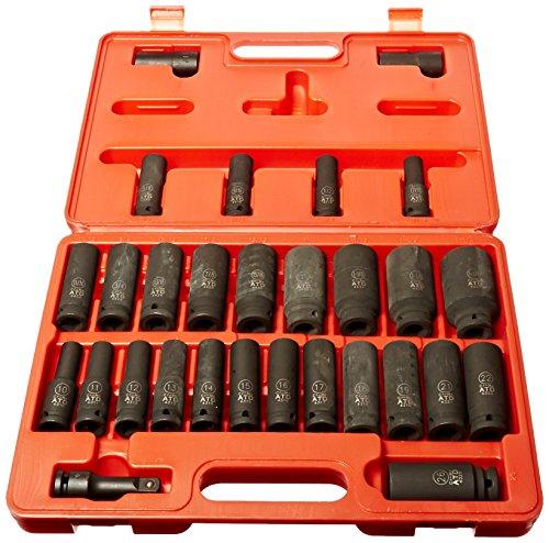 ATD TOOLS 4901 1/2 DRIVE 29-PIECE SAE AND METRIC DEEP IMPACT SOCKET SET