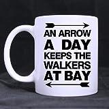 lilihome an Arrow A Day Keeps The Walkers at Bay Mug - Custom White Mug 11 oz Coffee Mug or Tea Cup Gift