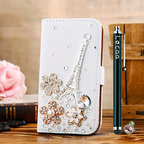 Locaa(TM) Pour Apple IPhone 7 IPhone7 (4.7 inch) 3D Bling Case Coque 3 IN 1 étuis Cuir Qualité Housse Chocs Étui Couverture Protection Cover Shell Phone Amour Love [Générale 1] paon Tour Eiffel Fleurs