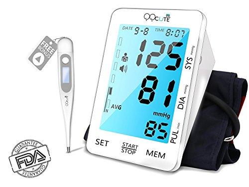 QQCute Präzise Blutdruckmessung Oberarmmanschette Armumfang 22-42cm 5,5 Zoll extra große Hintergrundbeleuchtung LCD Touchscreen Display Automatisches Elektronisches Blutdruckmessgerät für Haushalt