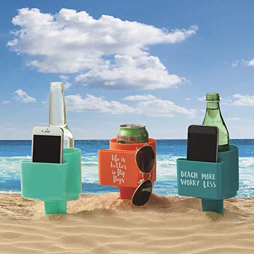 BEENZY Strand-Getränkehalter mit Tasche - Multifunktionale Strand-Getränkehalter aus Kunststoff für Getränke, Handy, Sonnenbrille und vieles mehr, Strandzubehör, Sand-Untersetzer, 1 Pack