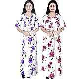 #8: Multi Color Long cotton Nighty (Pack of 2) Combo Womens Printed Nighty Nightwear Cotton Maxi Dress Sleepwear Nightgown …