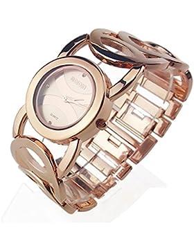 Mode Hohl Edelstahlarmband Quarz Armbanduhr Für Damen, Roségold-Roségold