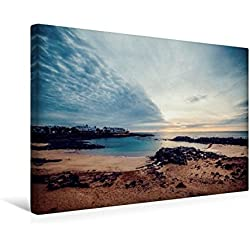 Calvendo Premium Textil-Leinwand 45 cm x 30 cm Quer, Bucht in Costa Teguise   Wandbild, Bild auf Keilrahmen, Fertigbild auf Echter Leinwand, Leinwanddruck Orte Orte