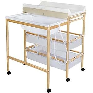 TecTake Fasciatoio in legno con vaschetta estraibile bagnetto neonati + 2 vani portaoggetti ...