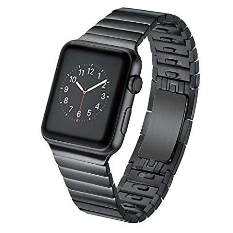 EloBeth For Apple Watch Armband Series 1 and Series 2, 42mm Stainless Steel Replacement Link Bracelet Band with Double Button Folding Clasp Apple Watch Band for Apple Watch 42mm - Black(Move links by Hand)