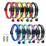 Vetoo 12 Pack Reflective Cat Collars, Adjustable Size(7.5-12.6in) Breakaway Safety Quick Release Buckle with Bell and 2 Anti-Lost Tags