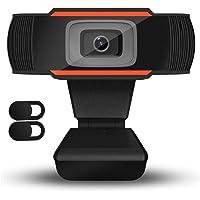 QueenDer HD Webcam mit Mikrofon USB PC Kamera mit 2Pcs Privatsphäre Abdeckung Mini Plug & Play Kamera mit Drehbarem Clip…