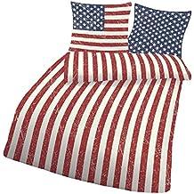 USA–Juego de cama 135x 200cm o 155x 220cm en color blanco/rojo de algodón (fabricado en Alemania) (135x 200cm y 80x 80cm)