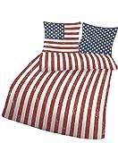 2 tlg. Bettwäsche USA 135 x 200 cm in rot aus Renforce