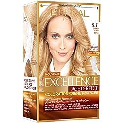 L'Oréal Paris - Excellence Age Perfect - Coloration Permanente Cheveux Matures & Très Blancs - Nuance 8,31 Blond Clair Beige