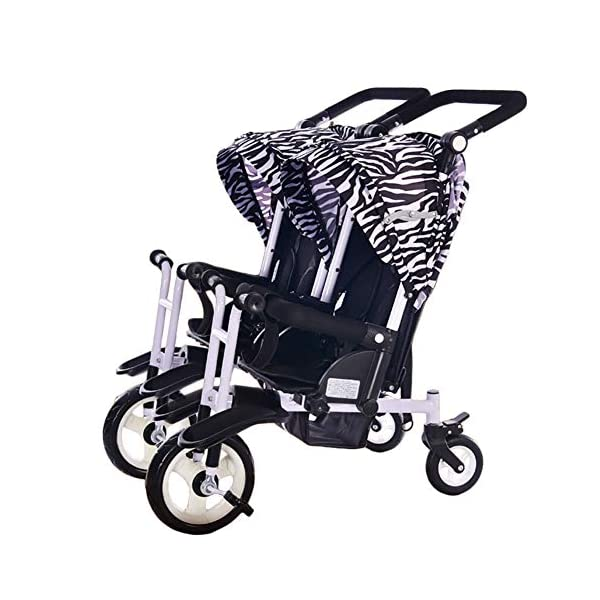 CHEERALL Twin Baby Stroller Children's Double Tricycle Summer Lightweight Breathable Toddler Pushchairs Double Buggies for Kids from Birth to 4 Years Old,B CHEERALL 3 in 1 MULTIFUNCTION:The canopy and push bar can be removed when kids grows, suitable for 3 childhood stages:Lying-pushing, Sitting-pushing, Cycling. SECURITY:Kids trike frame is made of high quality materials. Baby tricycle passed the 3C certification: non-toxic test, flame resistance test and durability test.Suitable for children from birth to 4 years. ADJUSTABLE SLEEPING BASKET & ADJUSTABLE CANOPY:The sleeping basket can be adjusted 100-175 degrees to meet the different needs of the baby to sit and lie down.Adjustable awnings allow you to adjust the different opening modes of the awning depending on the weather. 1