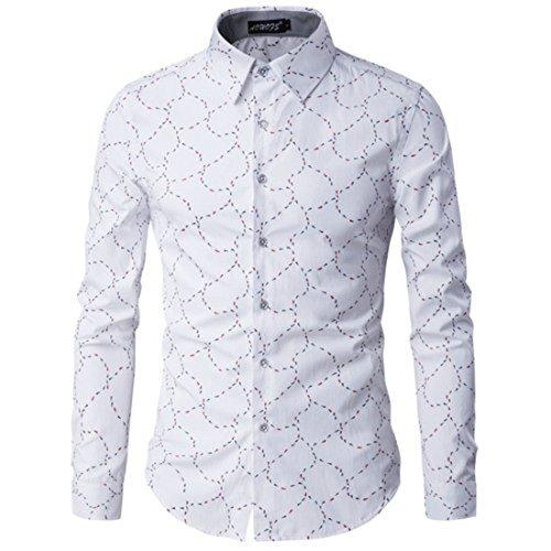 Men's Fashion Printed Long Sleeve Anti Wrinkle Cotton Slim Fit Casual Shirts white