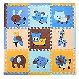 Puzzle Play Matte mit Tieren Mustern Interlocking Boden Fliesen, extra dick ungiftig, Baby Krabbeldecke, Tummy Zeit Matte, EVA-Schaum Matte für Kinderzimmer/Spielzimmer, Kinder/Kleinkinder/Babys