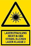 Warnschild aus Kunststoff - Laserstrahlung Nicht in den Strahl blicken Laser Klasse II -- 20 x 30 cm
