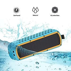 Lanmey Altoparlante Bluetooth a Ricarica Solare, IP65 Impermeabile da Doccia e Antiurto, Senza Fili Bassi Potenti Speaker con Microfono Incorporato, Ingresso Aux-In, Tempo di Riproduzione di 30 Ore