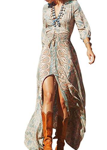 GaoAo Art und Weise V-Ansatz elastische Taillendruckkleid Hülse gespalten große Kleider Schaukel (L)