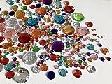 Rhinestone Paradise 500 Runde Schmucksteine 30mm bis 8mm selbstklebend Mosaik Runde Acryl-Steine Glitzer-Steine Glitzer-Sticker Brillanten Strass-Steine bunt Bastelset