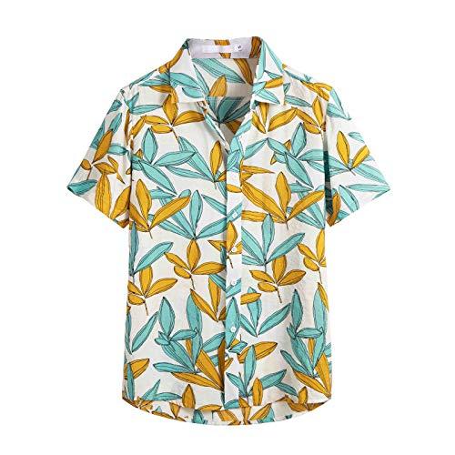 Xmiral T-Shirt Herren Herren Mehrfarbig Taste Kurzarm Rundkragen Lose Hemden Bluse Hawaii Stil Persönlichkeit Oberteile Poloshirt Kurzarmshirt(Weiß,XXL)