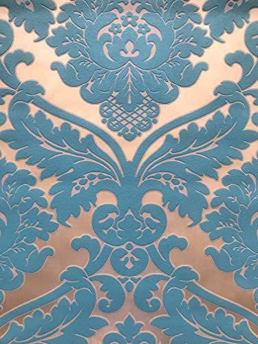 MATEX MDP2908 - Carta da parati in tessuto non tessuto, colore: oro/turchese damascato