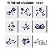 96 Airbrush Schablonen für Nailart selbstklebend - Set Blumen BLMA005