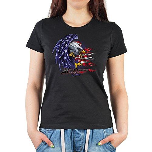 Biker-Damen/Girlie-Shirt Fun-Shirt Amerika- Motiv: USA Adler - geniales Geschenk