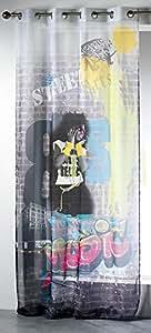 Douceur d'Intérieur Panneau avec Oeillets Imprimé Street Art Polyester/Voile 140 x 260 x 260 cm