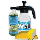 ABACUS FOAM MASTER Sanitär-Set (7267) - 1x Schaumsprüher, 1x 1000 ml PROXIS PLUS hochaktiver Sanitärreiniger, 1x Autoschwamm, 1x Haushaltsschwamm - Pumpsprüher Badreiniger Urinsteinentferner
