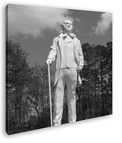 Statur des Sam Houston Format: 60x60 Effekt: Schwarz&Weiß als Leinwandbild, Motiv auf Echtholzrahmen, Hochwertiger Digitaldruck mit Rahmen, Kein Poster oder Plakat -