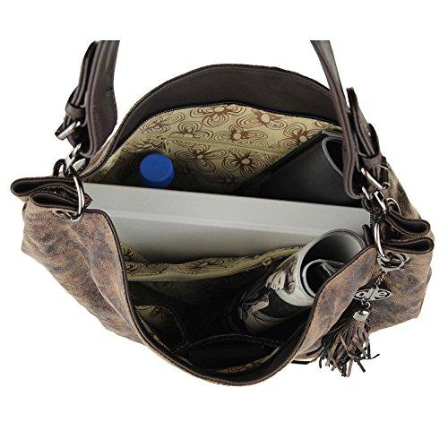 OBC ital-design Damen Tasche Schultertasche Shopper Beuteltasche Henkeltasche Umhängetasche City Bag Hobobag Handtasche (Schwarz) Braun