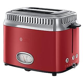Russell Hobbs 21680-56 Toaster Retro Ribbon Red, Retro Countdown-Anzeige, Schnell-Toast-Technologie, 1300 Watt, rot
