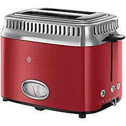 Russell Hobbs 21680-56 Toaster Grille-Pain Retro, 3 Fonctions, Température Ajustable, Réchauffe Viennoiserie, Design Vintage - Rouge