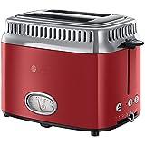 Russell Hobbs 21680-56 Retro Ribbon Red Toaster mit stylischer Countdown-Anzeige, Schnell-Toast-Technologie, 1300 W, rot