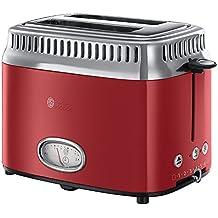 Russell Hobbs Retro Ribbon Red 21680-56 Toaster (1300 W, mit stylischer Countdown-Anzeige, Schnell-Toast-Technologie) rot