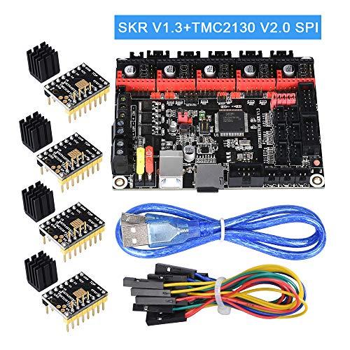 PoPprint SKR V1.3 32-Bit-ARM-Controller-Board mit Open Source-Firmware Marlin2.0 und Smoothieware Verwenden Sie die Technologie der Goldabscheidungstechnologie für 3D-Drucker. (SKR V1.3+TMC2130 SPI)