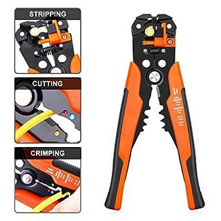 DANIU automatische Abisolierzange und Schneidzange Drahtschneider für Kabeldurchmesser Crimpzange Drahtcrimper Stripper-Crimper, multifunktionalvon 0.2-6 mm² (Orange)